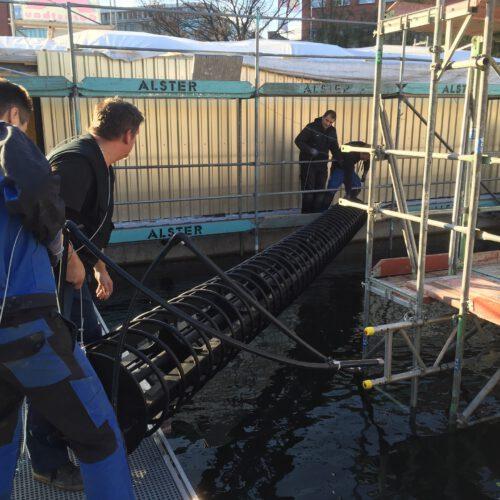 Installation Wärmetauscher Unterwasser